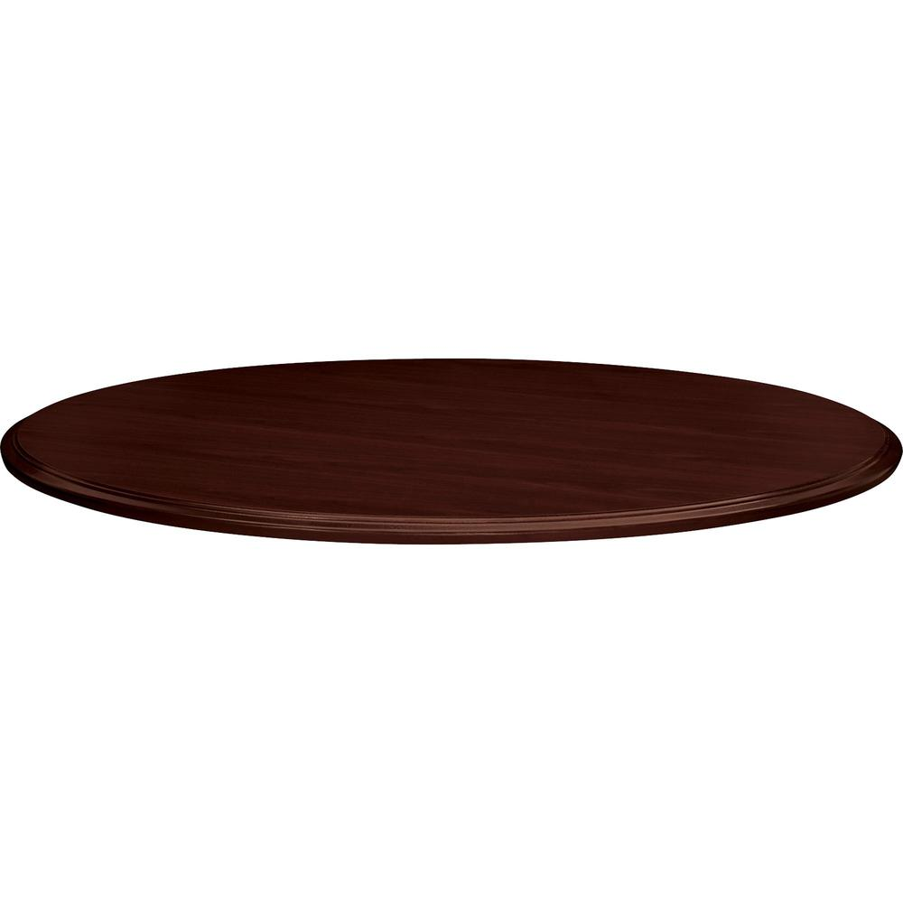 """HON Preside Laminate Round Top, 48""""D - Round Top - 1.13"""" Table Top Thickness x 48"""" Table Top Diameter - Laminated, Mahogany. Picture 1"""