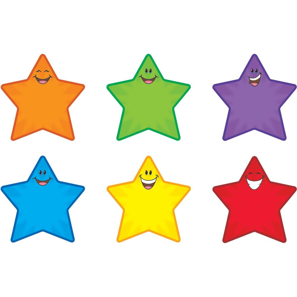 "Trend Smiling Stars Accents - 36 (Smiley Star) Shape - Precut - 5.50"" Height - Assorted - 36 / Pack"