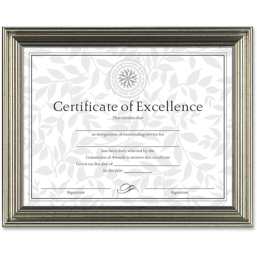 "Dax Burns Group Antique-colored Certificate Frame - 11"" x 8.50"" Frame Size - Rectangle - Desktop - Horizontal, Vertical - 1 Each - Antique Silver. Picture 1"