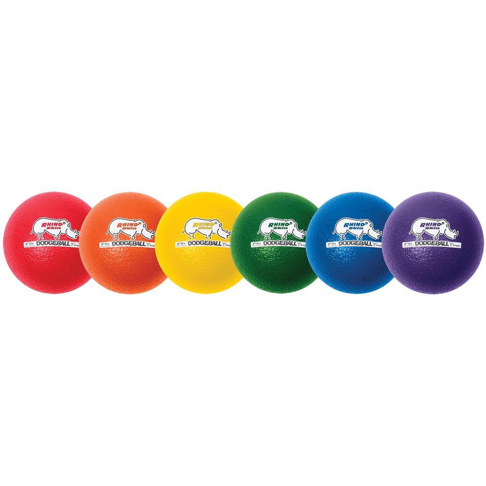 "Champion Sports 6 Inch Rhino Skin Low Bounce Dodgeball Set - 6.30"" - Low Density Foam - Dodgeball - Red, Orange, Yellow, Green, Blue, Purple - 8 / Case. Picture 1"