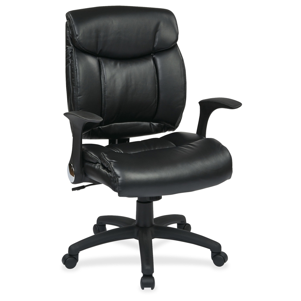 Fl89675 Faux Leather Managers Chair With Flip Arms Faux