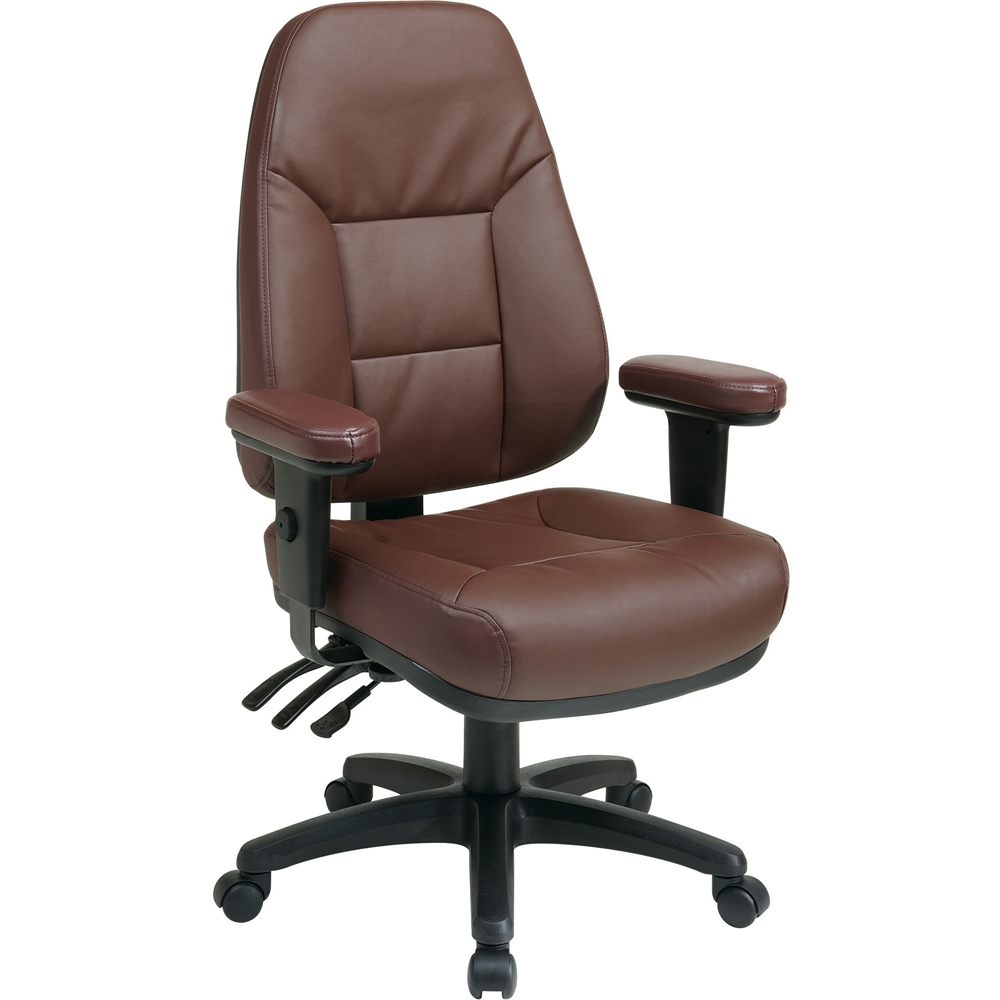 Office Star High-Back Eco-leather Chair - Leather Burgundy Seat - Black Frame - 5-star Base ...