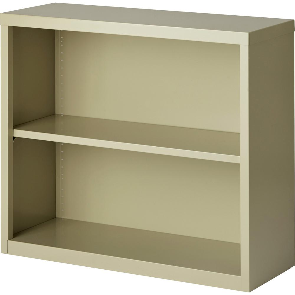 "Lorell Fortress Series Bookcases - 34.5"" x 13"" x 30"" - 2 x Shelf(ves) - Putty - Powder Coated - Steel - Recycled"
