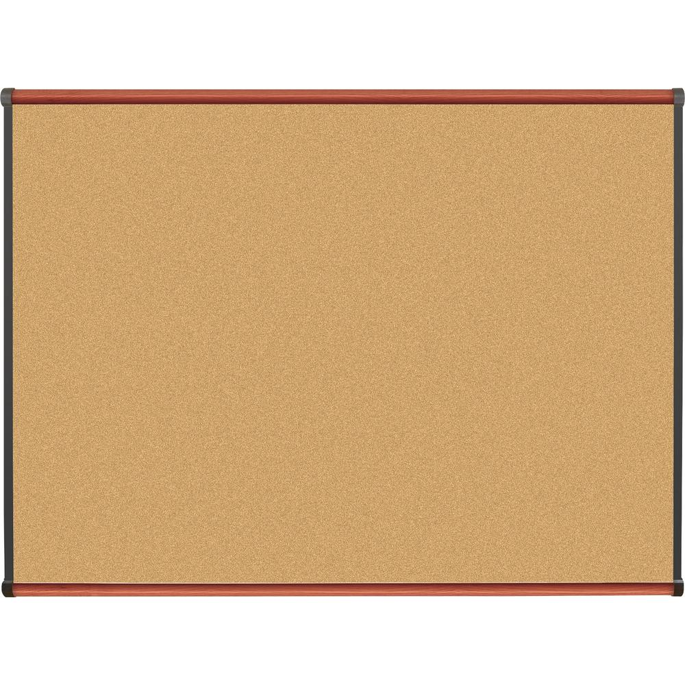 "Lorell Cherry Finish Natural Cork Board - 48"" Height x 36"" Width - Natural Cork Surface - Durable, Self-healing - Cherry Wood Frame - 1 Each"