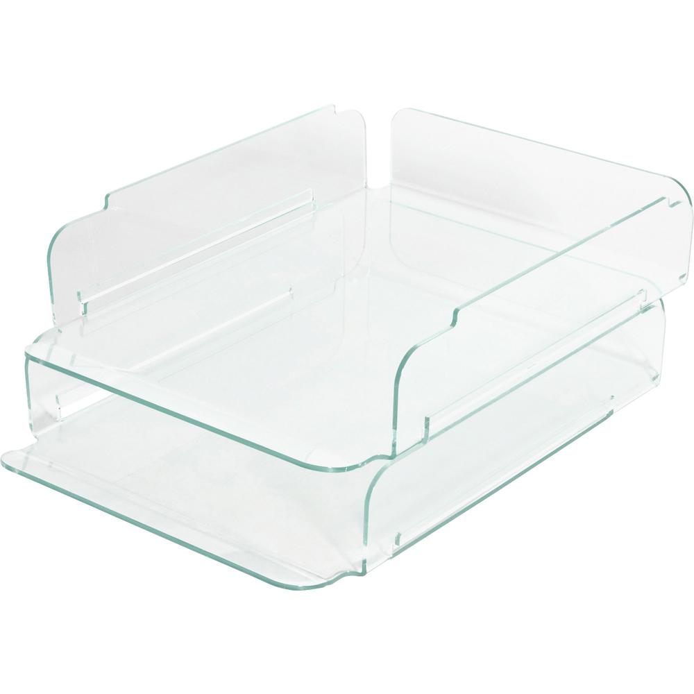 Lorell stacking letter trays desktop clear green for Decorative stacking letter trays
