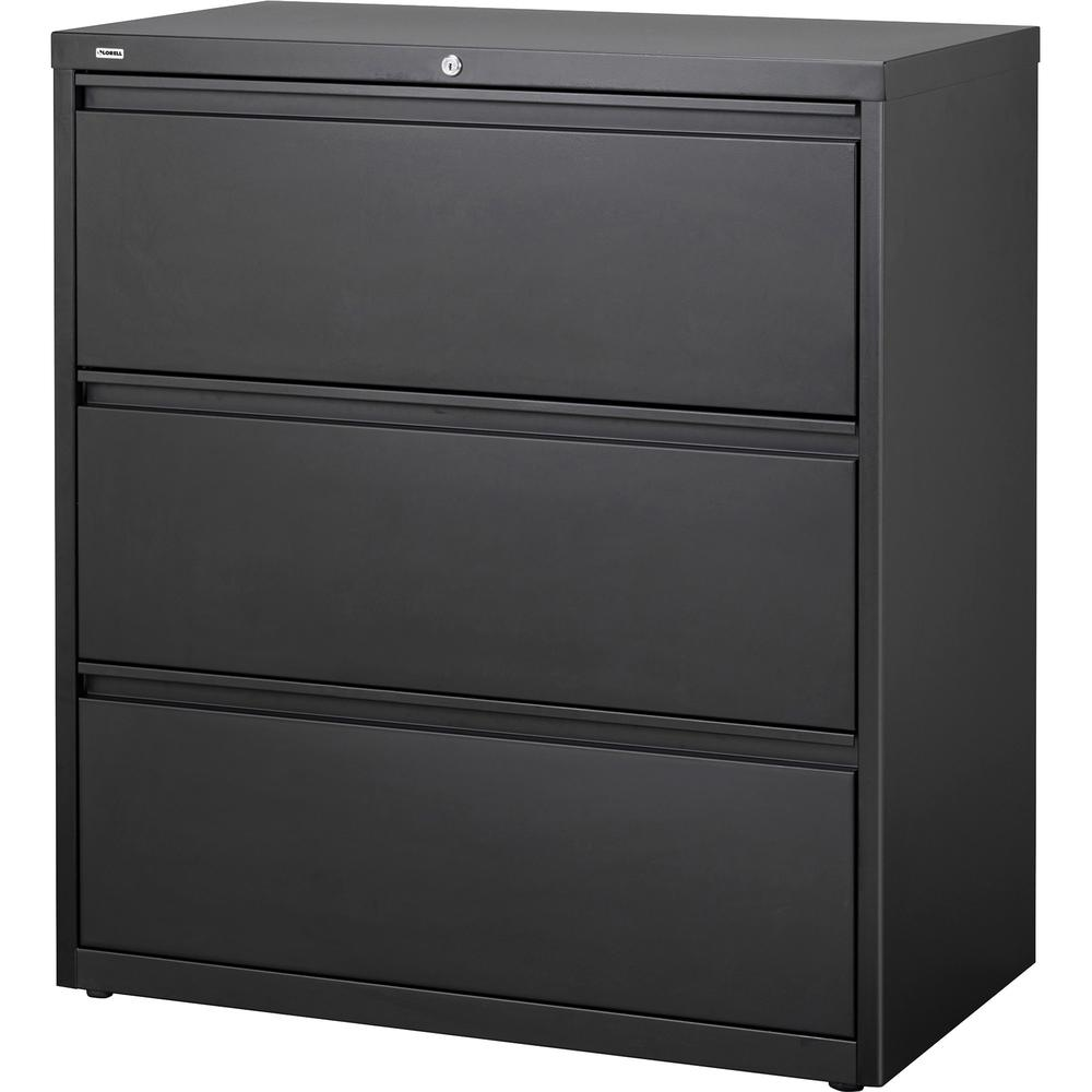 "Lorell 3-Drawer Black Lateral Files - 36"" x 18.6"" x 40.3"" - 3 x Drawer(s) for File - Letter, Legal, A4 - Lateral - Locking Drawer, Magnetic Label Holder, Ball-bearing Suspension, Leveling Glide - Blac. Picture 1"