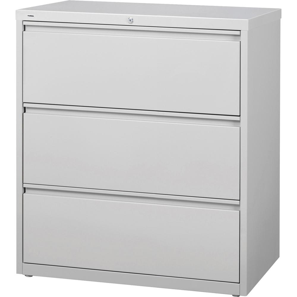 "Lorell 3-Drawer Light Gray Lateral Files - 36"" x 18.6"" x 40.3"" - 3 x Drawer(s) for File - Letter, Legal, A4 - Lateral - Locking Drawer, Magnetic Label Holder, Ball-bearing Suspension, Leveling Glide -"