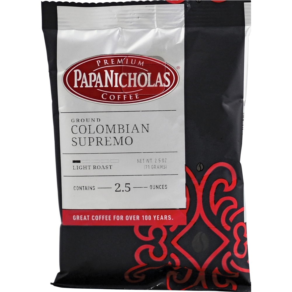 PapaNicholas Colombian Supremo Coffee - Regular - Arabica, Colombian Supremo - Light/Mild - 2.5 oz Per Carton - 18 Packet - 18 / Carton. The main picture.
