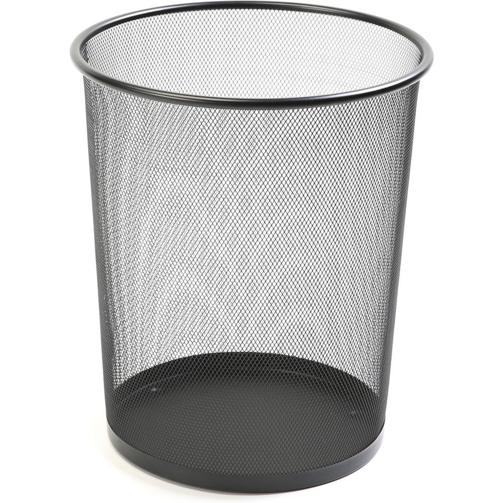 "Lorell Black Steel Mesh Round Waste Bin - 4.70 gal Capacity - Round - 14.3"" Height x 12"" Diameter - Steel - Black"