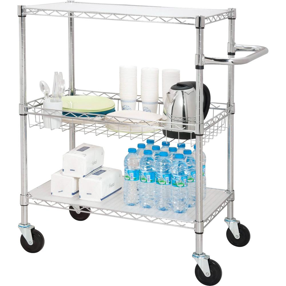 """Lorell 3-Tier Rolling Carts - 99 lb Capacity - 4 Casters - Steel - 18"""" Width x 30"""" Depth x 40"""" Height - Chrome"""