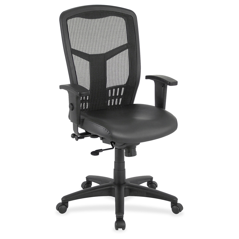 Lorell Executive High Back Mesh Chair Leather Black Seat