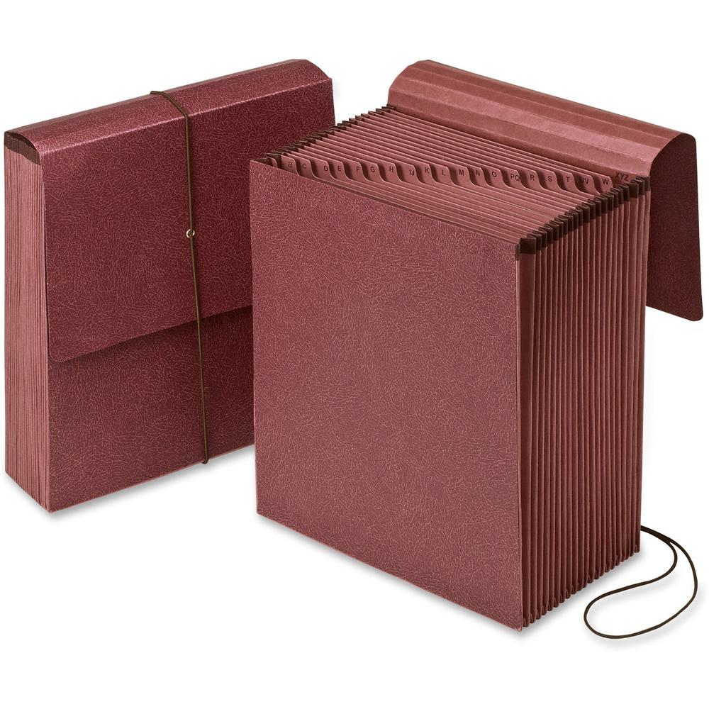 "Pendaflex A-Z Vertical Expanding Files - 3 1/2"" Folder Capacity - Letter - 8 1/2"" x 11"" Sheet Size - 21 Pocket(s) - Fiber - Redrope - Recycled - 1 Each"