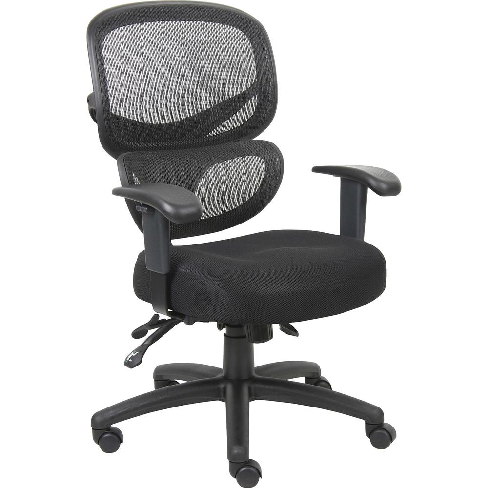 "Lorell Mesh-Back Fabric Executive Chairs - Fabric Black Seat - Mesh Black Back - 5-star Base - Black, Silver - Fabric - 40.5"" Height"