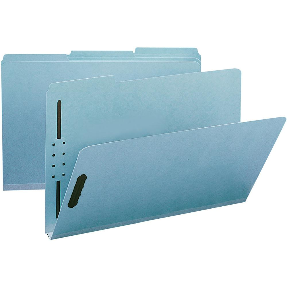 """Smead 100% Recycled Fastener File Folders - Legal - 9 1/2"""" x 14 5/8"""" Sheet Size - 125 Sheet Capacity - 1"""" Expansion - 2 x 2K Fastener(s) - Folder - 1/3 Tab Cut - Assorted Position Tab Position - Press. Picture 1"""