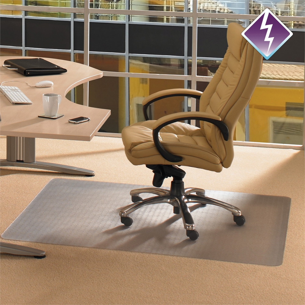 """Computex Anti-Static Advantagemat, PVC Chair Mat, for standard pile carpets (3/8"""" or less), Rectangular with Lip, Size 36"""" x 48"""". Picture 1"""