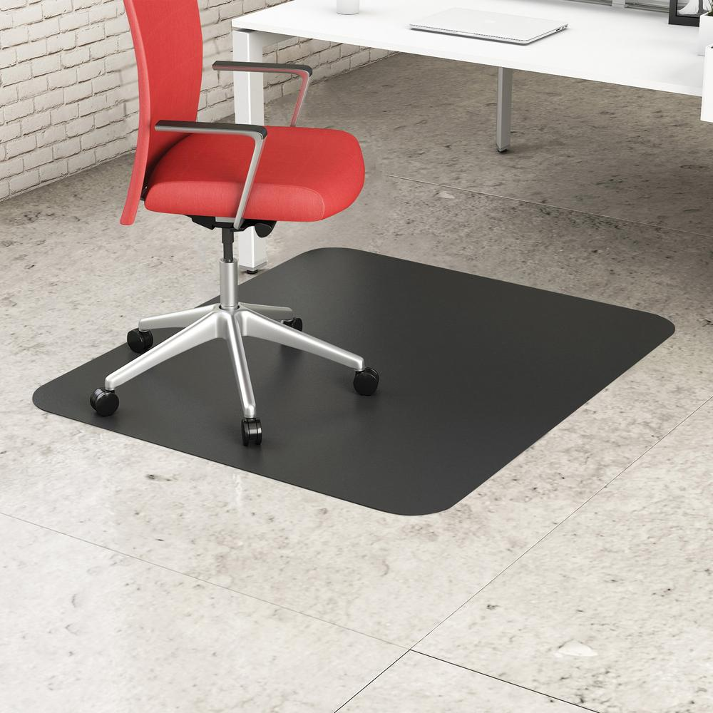 "Deflecto Black EconoMat for Hard Floors - Hard Floor, Office, Carpeted Floor, Breakroom - 60"" Length x 46"" Width - Rectangle - Vinyl - Black. Picture 1"