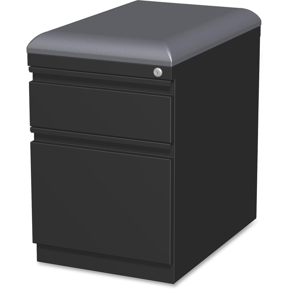 "Lorell Mobile Pedestal File with Seating - 2-Drawer - 15"" x 19.9"" x 23.8"" - 2 x Drawer(s) for Box, File - Letter - 305.50 lb Load Capacity - Ball-bearing Suspension, Drawer Extension - Black - Steel -. Picture 1"