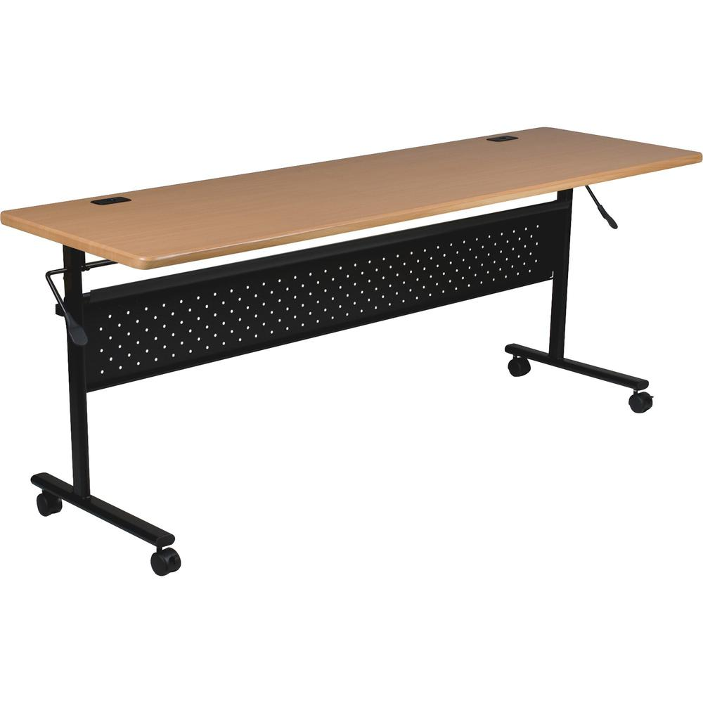 """Lorell Flipper Training Table - Teak Rectangle Top - 72"""" Table Top Length x 24"""" Table Top Width x 1"""" Table Top Thickness - 29"""" Height - Assembly Required. Picture 1"""