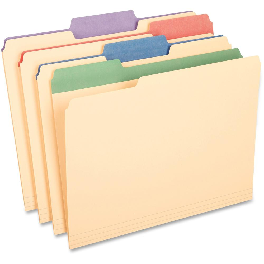 "Pendaflex Color Tab Manila File Folders - Letter - 8 1/2"" x 11"" Sheet Size - 225 Sheet Capacity - 3/4"" Expansion - 1/3 Tab Cut - 11 pt. Folder Thickness - Manila - Assorted - 1 lb - Recycled - 50 / Bo. Picture 1"