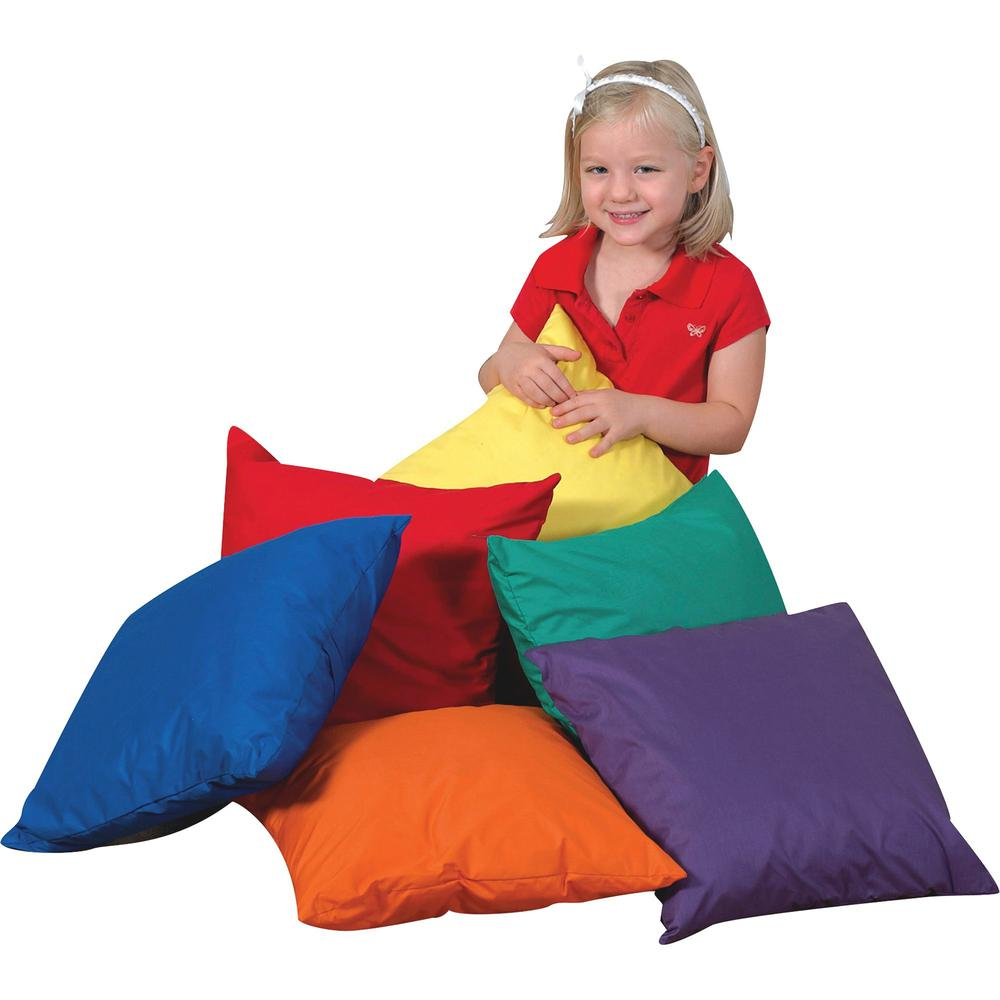 """Children's Factory Foam-filled Square Floor Pillow - 17"""" x 17"""" - Foam Filling - Polyester - Square - Water Resistant, Machine Washable - Assorted - 6 / Set. Picture 1"""