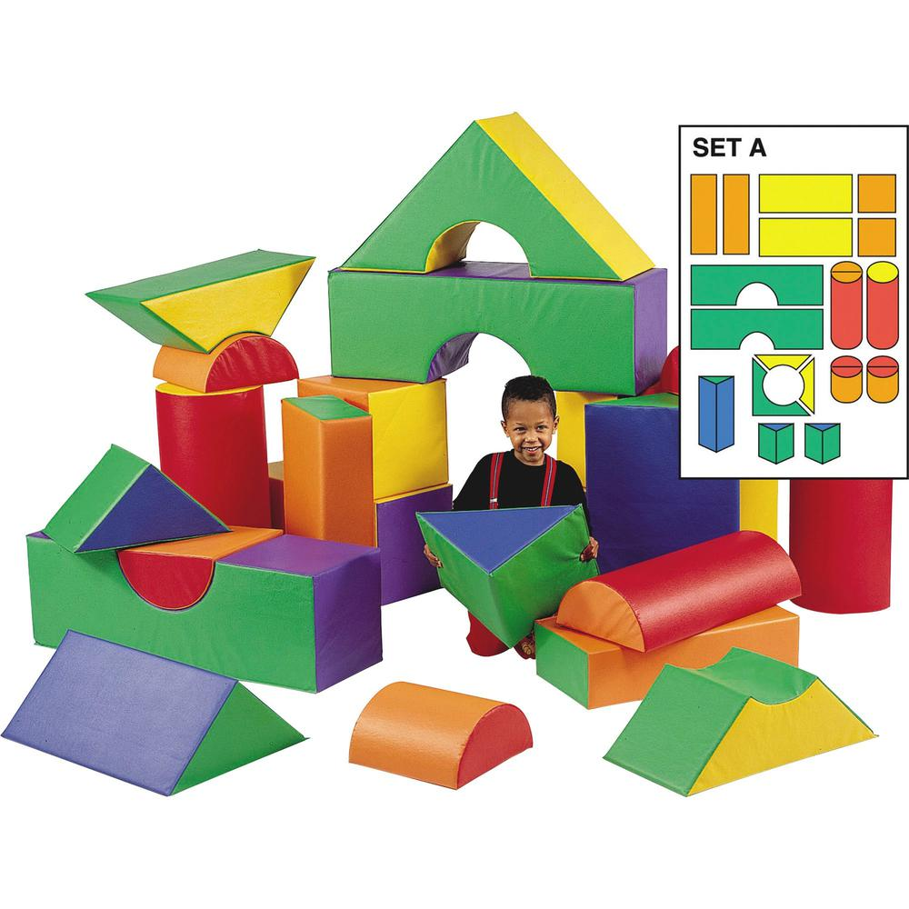 """Children's Factory Large 12"""" Module Blocks Sets - Theme/Subject: Fun - Skill Learning: Matching, Construction, Structural Analysis - All Ages - 21 Pieces. Picture 1"""