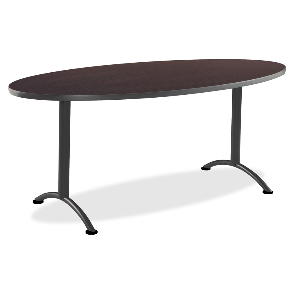 Iceberg ARC Oval Conference Table X Walnut Charcoal Leg - 36 conference table