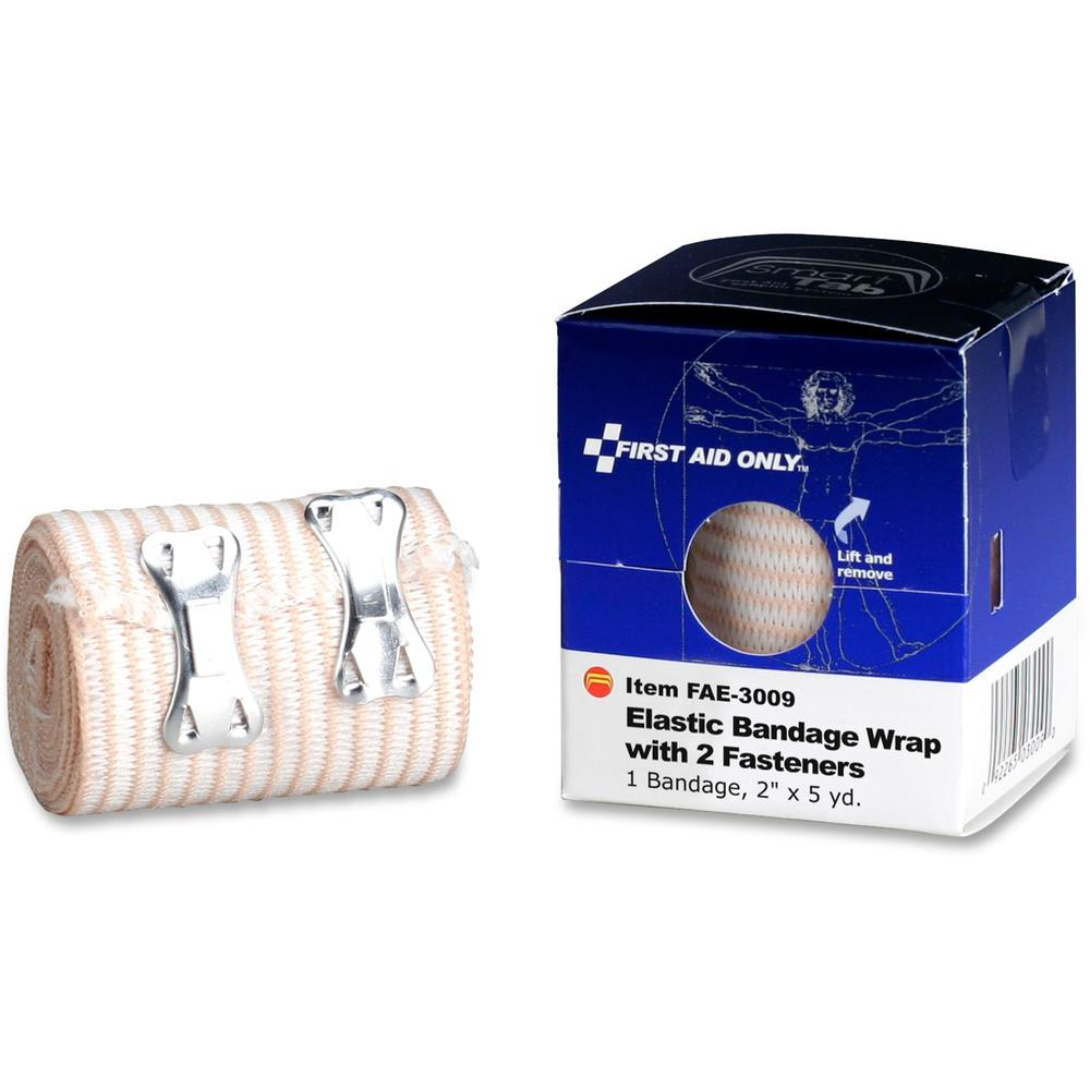 "First Aid Only 2-Fastener Elastic Bandage Wrap - 2"" x 15 ft - 1/Box - Tan. Picture 1"