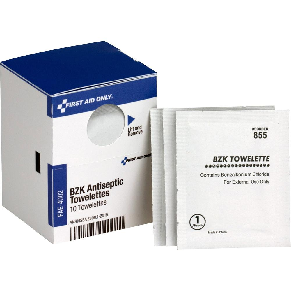 """First Aid Only BZK Antiseptic Towelettes - 4.75"""" x 7.75"""" - 10/Box - White. Picture 1"""