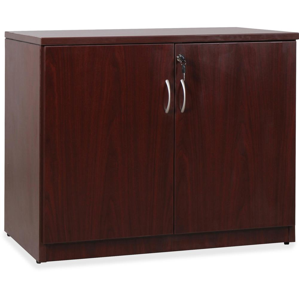 Lorell essentials series mahogany 2 door storage cabinet for 1 door storage cabinet