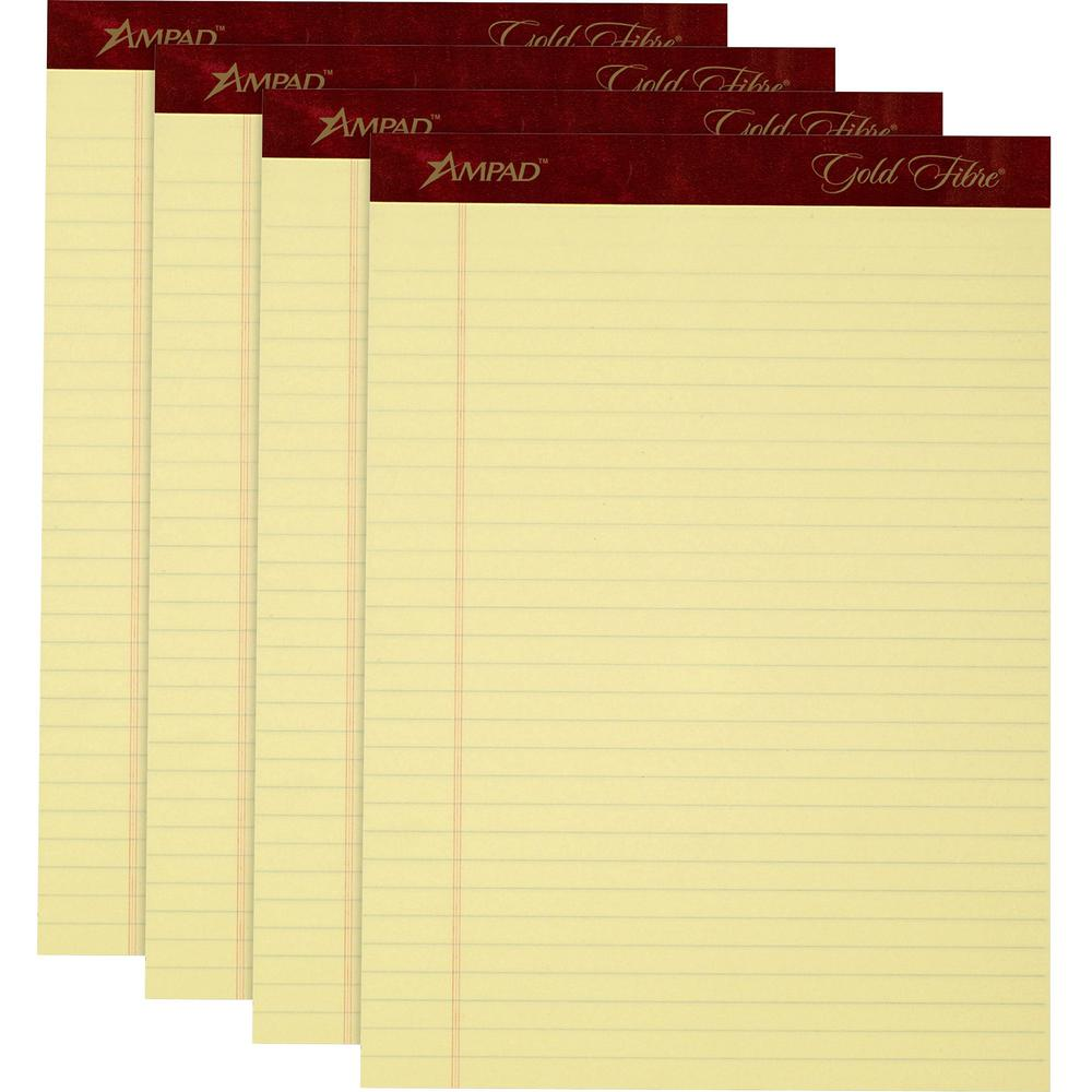 """TOPS Gold Fibre Premium Rule Writing Pads - Letter - 50 Sheets - Watermark - Stapled/Glued - 0.34"""" Ruled - 20 lb Basis Weight - 8 1/2"""" x 11"""" - Yellow Paper - Micro Perforated, Bleed-free, Chipboard Ba. Picture 1"""