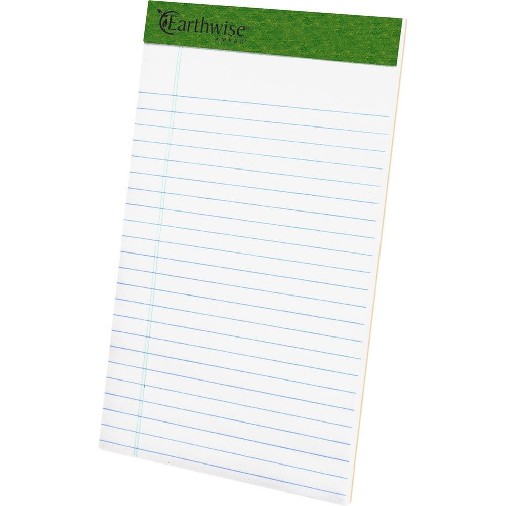 """TOPS Recycled Perforated Jr. Legal Rule Pads - 50 Sheets - 0.28"""" Ruled - 15 lb Basis Weight - 5"""" x 8"""" - Environmentally Friendly, Perforated - Recycled - 12 / Dozen. Picture 1"""
