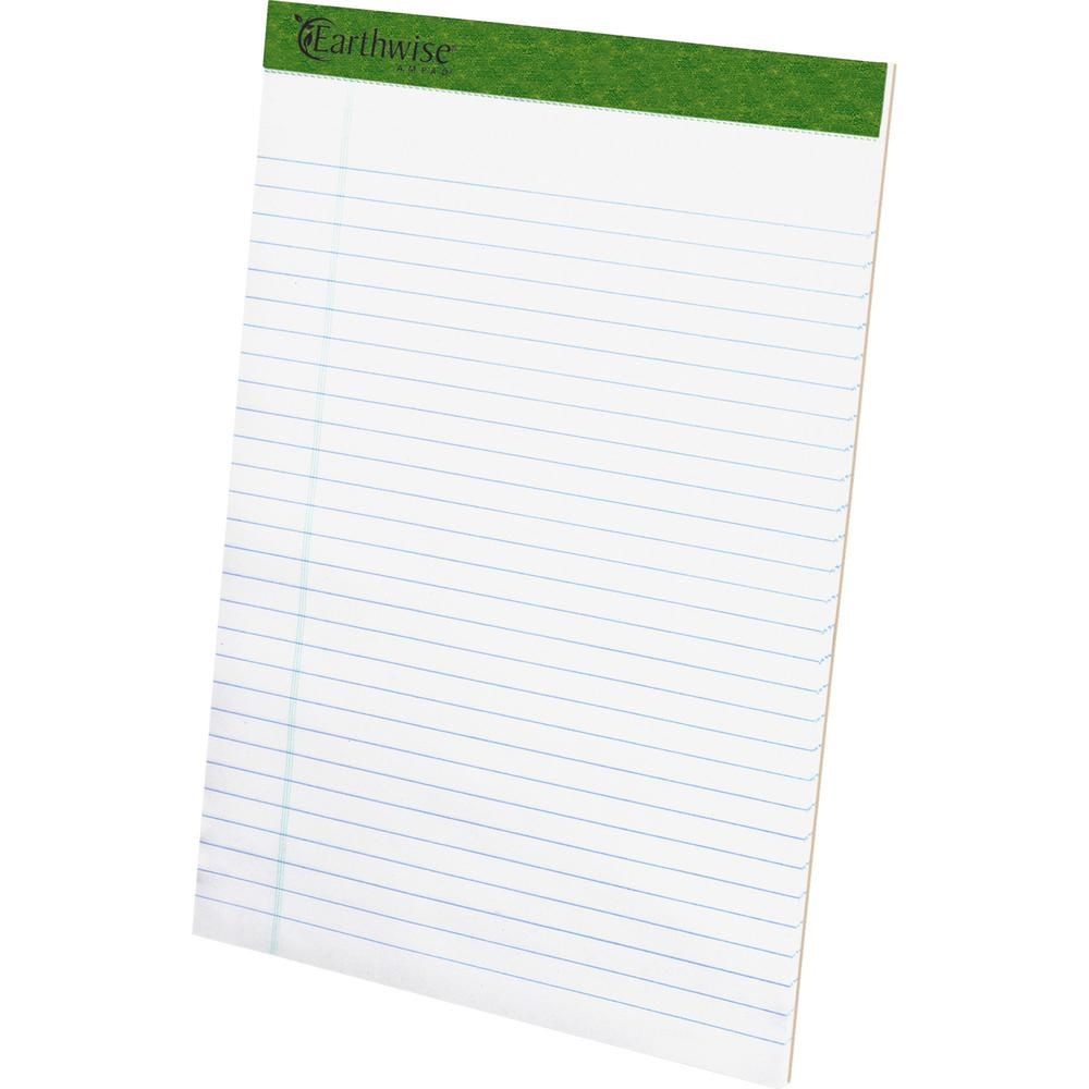 """TOPS Recycled Perforated Legal Writing Pads - 50 Sheets - 0.34"""" Ruled - 15 lb Basis Weight - 8 1/2"""" x 11 3/4"""" - Environmentally Friendly, Perforated - Recycled - 12 / Dozen. Picture 1"""