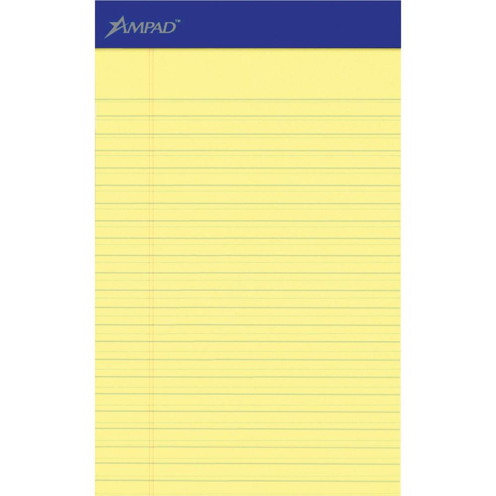 """Ampad Perforated Ruled Pads - 50 Sheets - Stapled - 0.28"""" Ruled - 5"""" x 8"""" - Dark Blue Binder - Chipboard Backing, Sturdy Back, Tear Resistant, Perforated - 12 / Dozen. Picture 1"""