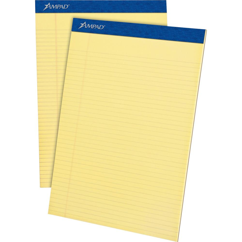 "Ampad Perforated Ruled Pads - Letter - 50 Sheets - Stapled - 0.25"" Ruled - 15 lb Basis Weight - 8 1/2"" x 11""8.5""11.8"" - Canary Paper - Dark Blue Binder - Micro Perforated, Chipboard Backing, Sturdy Ba. Picture 1"