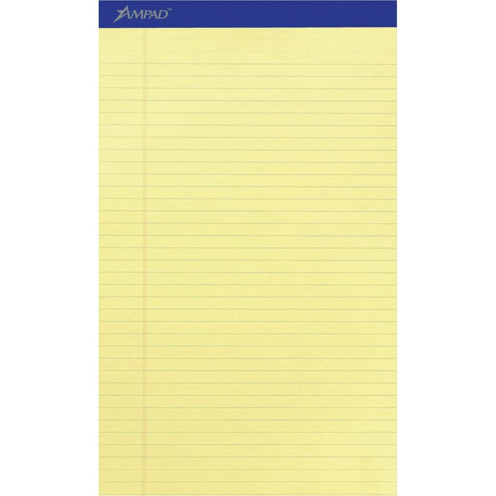 """Ampad Perforated Ruled Pads - Legal - 50 Sheets - Stapled - 0.34"""" Ruled - 15 lb Basis Weight - 8 1/2"""" x 14"""" - Canary Yellow Paper - Dark Blue Binder - Perforated, Sturdy Back, Chipboard Backing, Tear . Picture 1"""