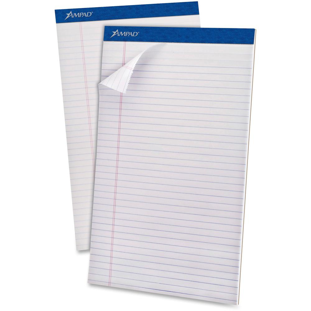 """Ampad Perforated Ruled Pads - Legal - 50 Sheets - Stapled - 0.34"""" Ruled - 20 lb Basis Weight - 8 1/2"""" x 14"""" - White Paper - White Cover - Sturdy Back, Header Strip, Pinhole Perforated, Chipboard Backi. Picture 1"""