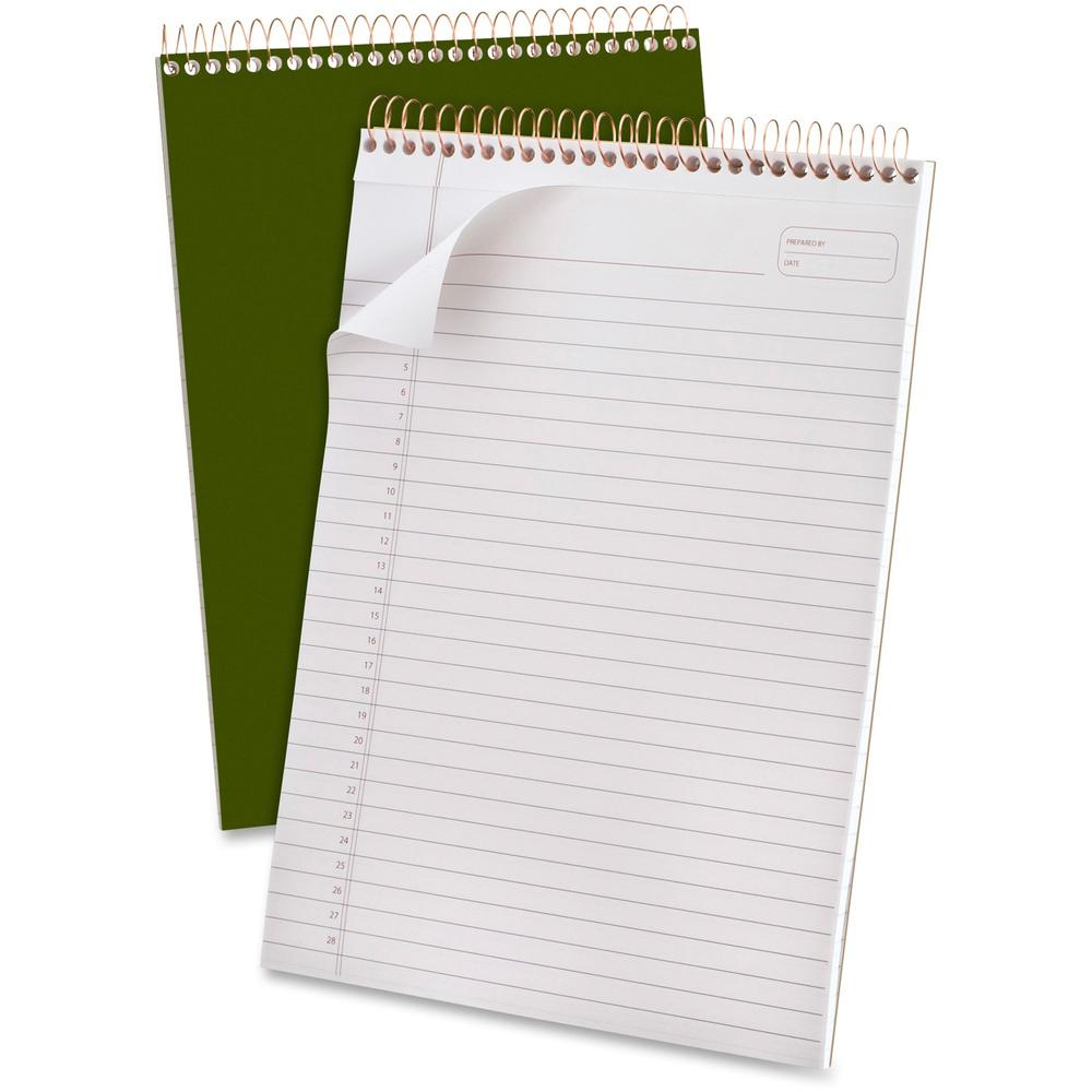 "Ampad Gold Fibre Classic Wirebound Legal Pads - 70 Sheets - Wire Bound - 0.34"" Ruled - 20 lb Basis Weight - 8 1/2"" x 11 3/4"" - White Paper - Classic Green Cover - Micro Perforated, Stiff-back, Chipboa. Picture 1"