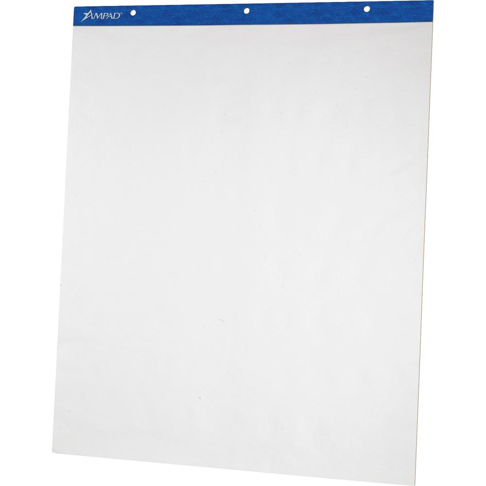"""Ampad Plain Perforated Easel Pads - 50 Sheets - Plain - 27"""" x 34"""" - White Paper - Mediumweight, Pinhole Perforated, Easy Tear, Chipboard Backing - Recycled - 2 / Carton. Picture 1"""