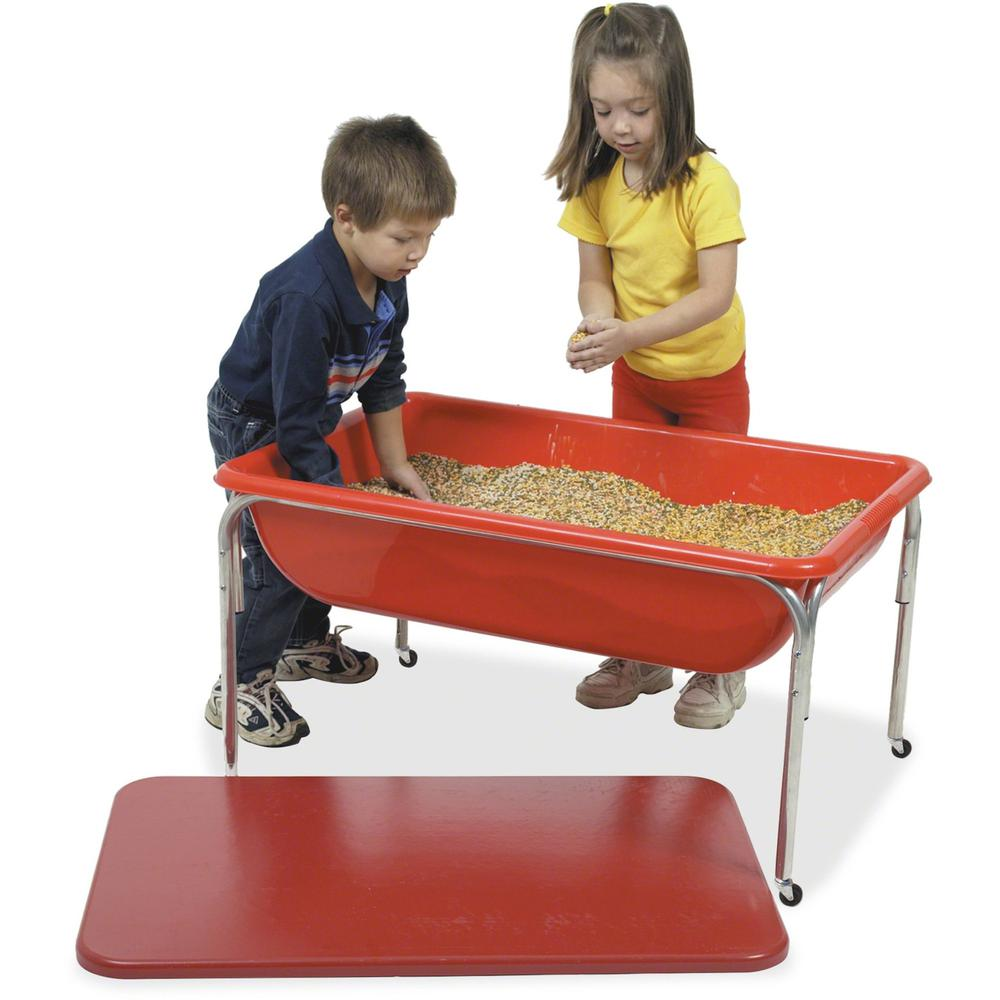 "Children's Factory Small Sensory Table Set - Rectangle Top - Four Leg Base - 4 Legs - 36"" Table Top Length x 24"" Table Top Width - 24"" Height - Blue - Plastic. Picture 1"