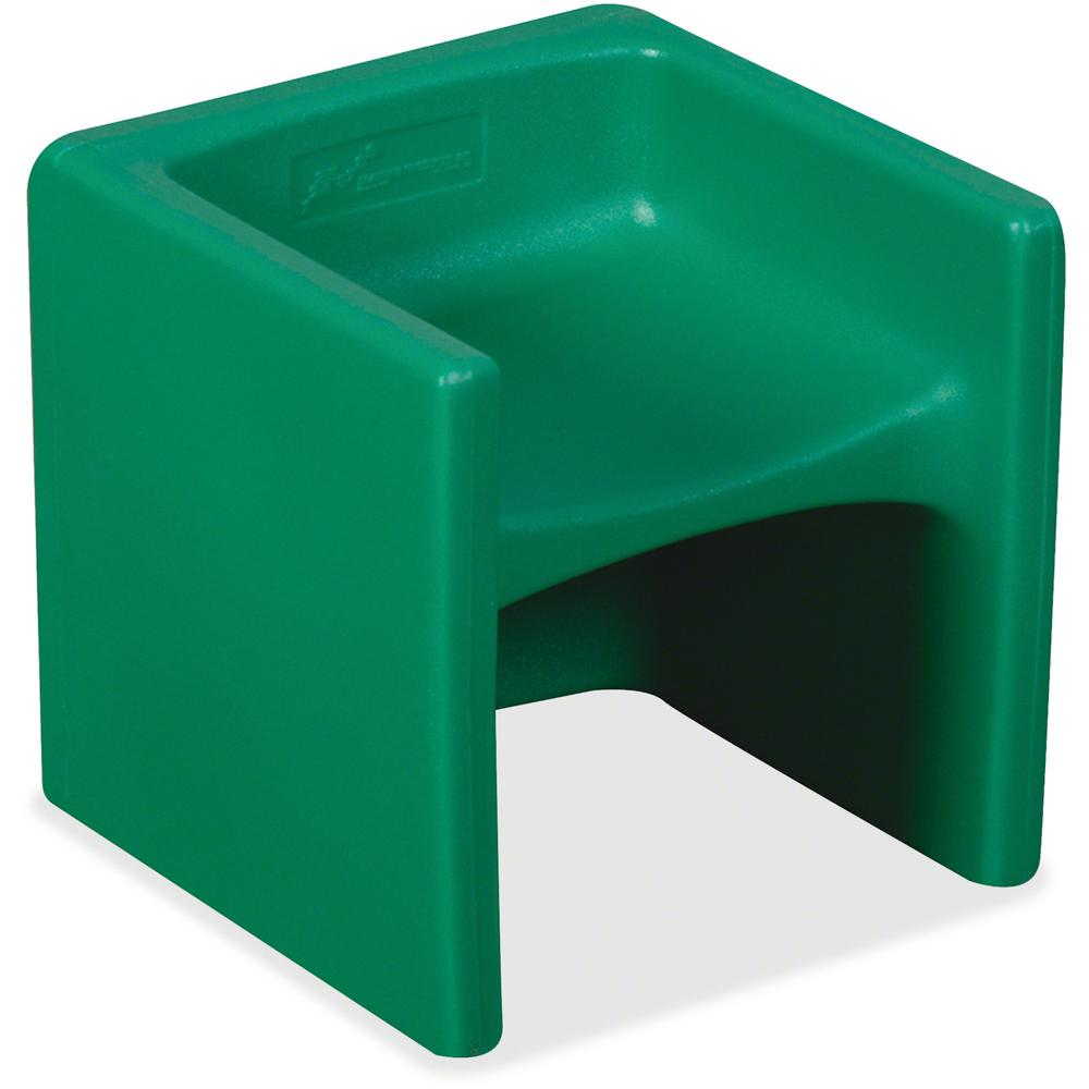 "Children's Factory Multi-use Chair Cube - Green - Polyethylene - 15"" Length x 15"" Width - 15"" Height - 1 / Each. Picture 1"