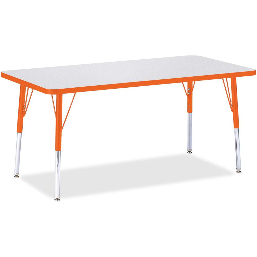 """Jonti-Craft Berries Orange Edge Rectangle Table - Rectangle Top - 60"""" Table Top Length x 30"""" Table Top Width - Assembly Required - Gray, Laminated, Powder Coated - Steel. Picture 1"""