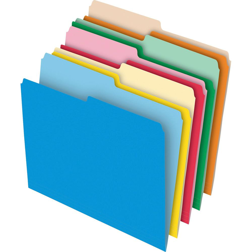 """Pendaflex 1/2 Tab Cut Letter Recycled Top Tab File Folder - 8 1/2"""" x 11"""" - Stock - Assorted - 10% - 100 / Box. Picture 1"""