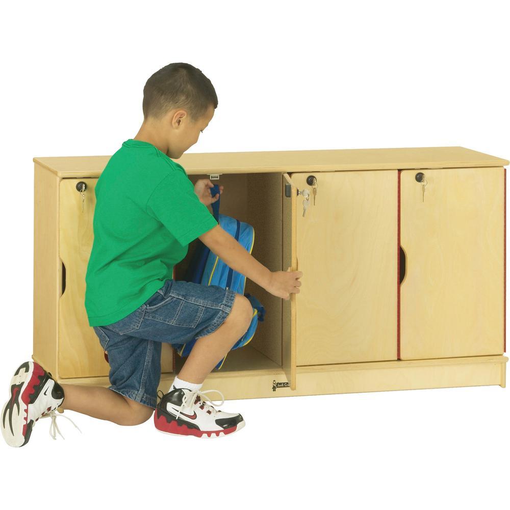 "Jonti-Craft Single Stack 4-Section Student Lockers - 48.5"" x 15"" x 23.5"" - Stackable, Lockable, Sturdy, Key Lock, Kick Plate - Wood Grain - Baltic Birch Plywood. Picture 1"