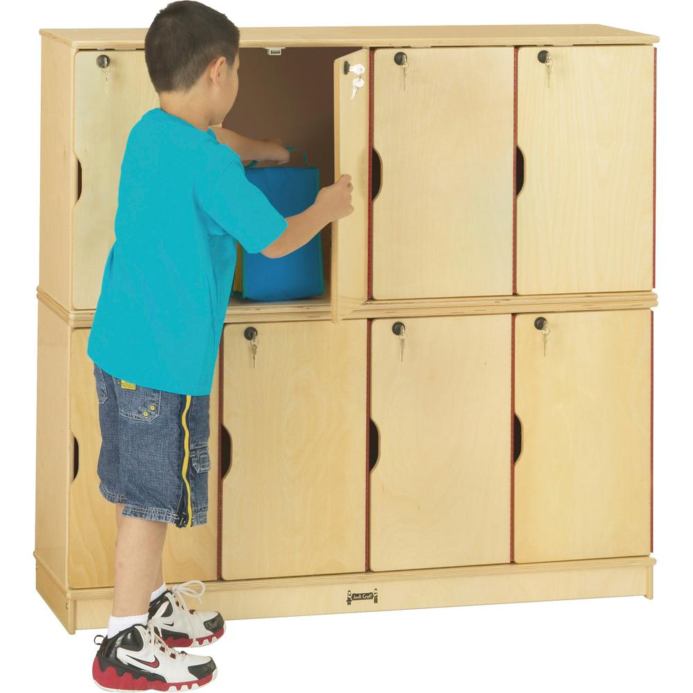 "Jonti-Craft Double Stack 8-Section Student Lockers - 48.5"" x 15"" x 45.5"" - Stackable, Lockable, Sturdy, Key Lock, Kick Plate - Wood Grain - Baltic Birch Plywood. Picture 1"