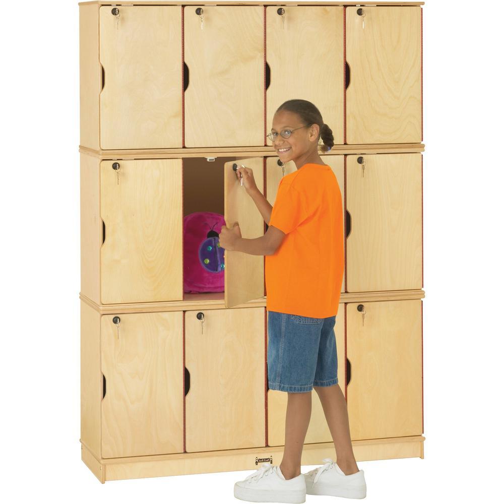 "Jonti-Craft Triple Stack Children's Stacking Lockers - 48.5"" x 15"" x 67"" - Stackable, Lockable, Sturdy, Key Lock, Kick Plate - Wood Grain - Baltic Birch Plywood. Picture 1"