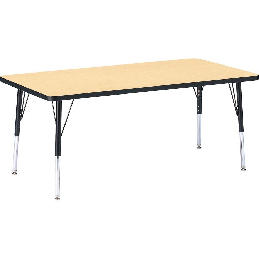 "Berries Maple Top/Edge Rectangle Table - Laminated Rectangle, Maple Top - 60"" Table Top Length x 30"" Table Top Width x 1.13"" Table Top Thickness - 24"" Height - Assembly Required - Powder Coated - Stee. Picture 1"