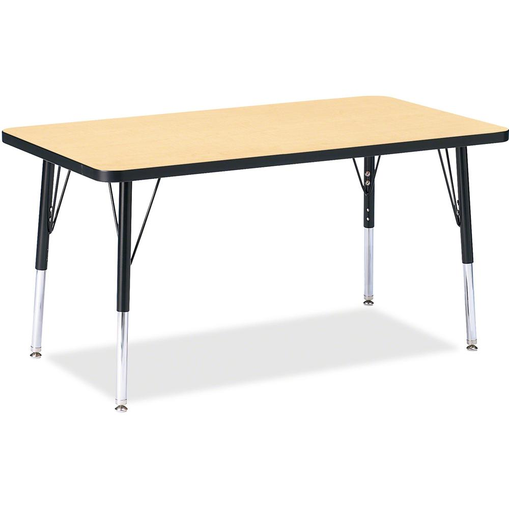 """Berries Height Maple Top Black Edge Rectangle Table - Laminated Rectangle, Maple Top - 36"""" Table Top Length x 24"""" Table Top Width x 1.13"""" Table Top Thickness - 24"""" Height - Assembly Required - Powder . Picture 1"""