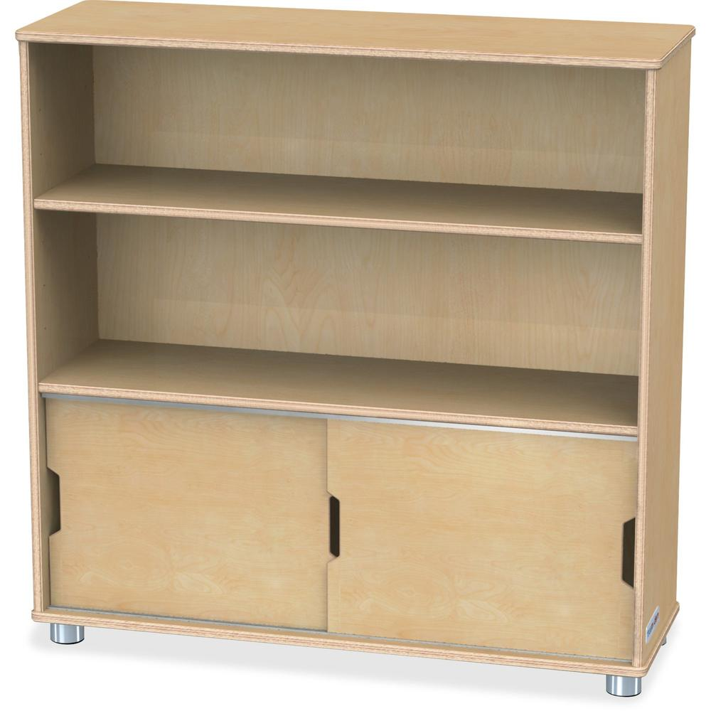 "TrueModern Bookcase Storage - 2 Compartment(s) - 36"" Height x 36"" Width x 12"" Depth - Baltic - Anodized Aluminum, Birch - 1Each. Picture 1"