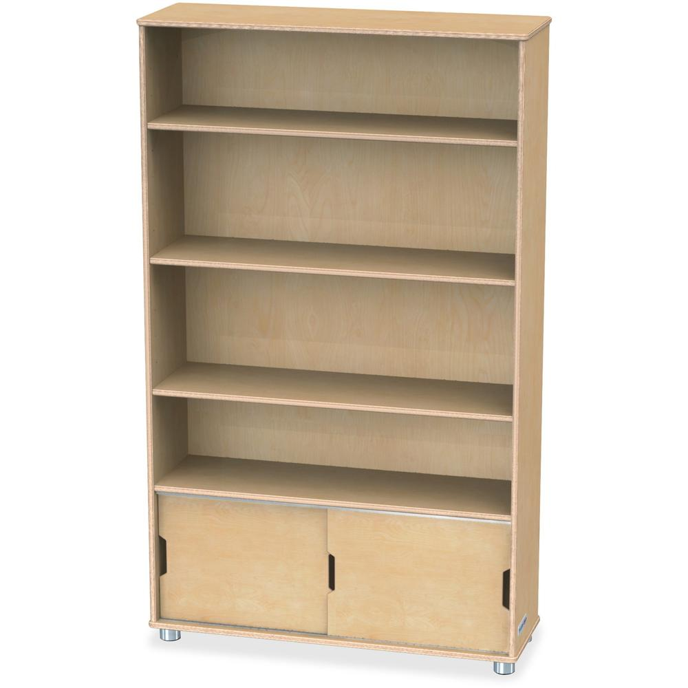 """TrueModern Bookcase Storage - 4 Compartment(s) - 60"""" Height x 36"""" Width x 12"""" Depth - Baltic - Anodized Aluminum, Birch - 1Each. Picture 1"""