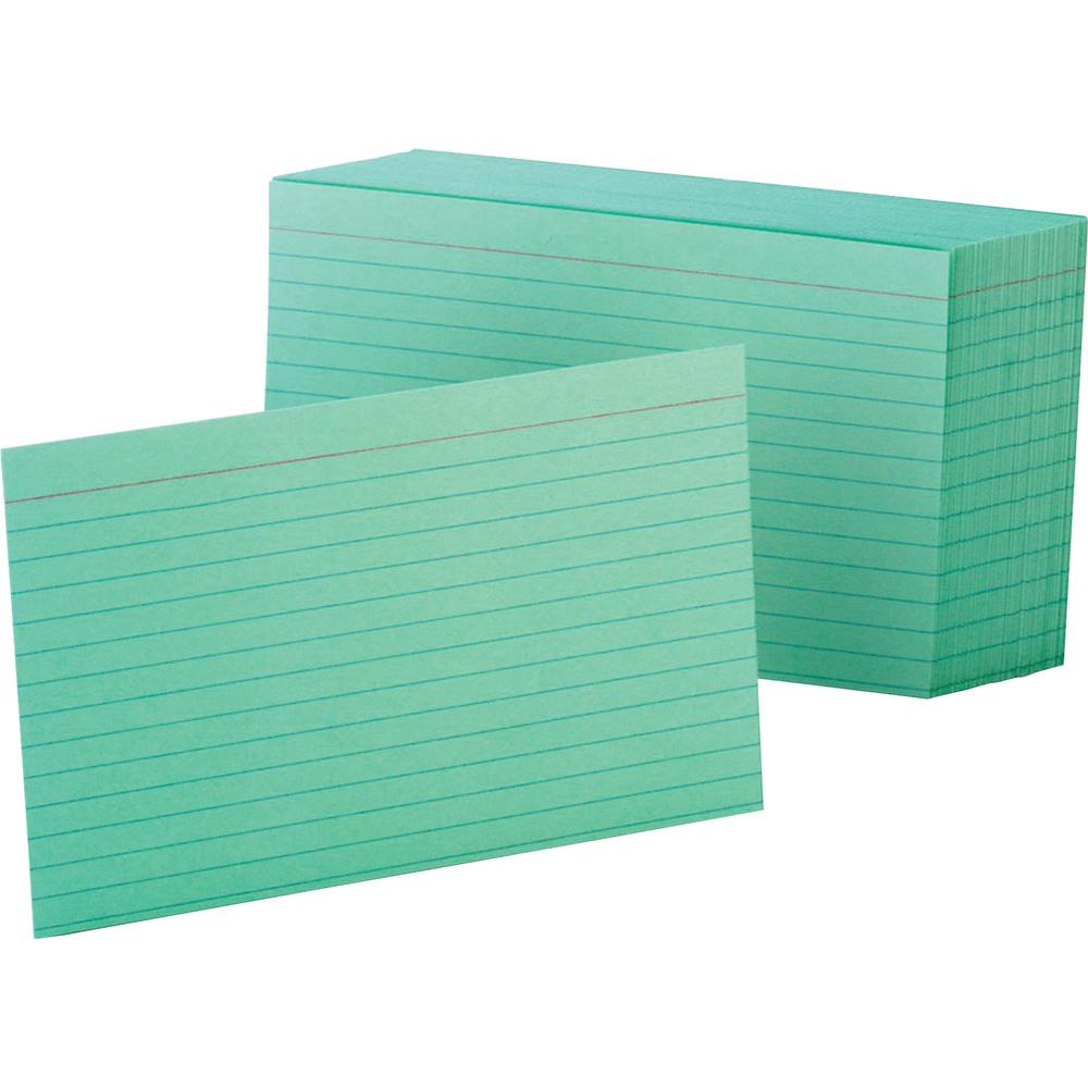 """Oxford Colored Ruled Index Cards - 100 Sheets - Front Ruling Surface - 4"""" x 6"""" - Green Paper - Durable - 100 / Pack. Picture 1"""